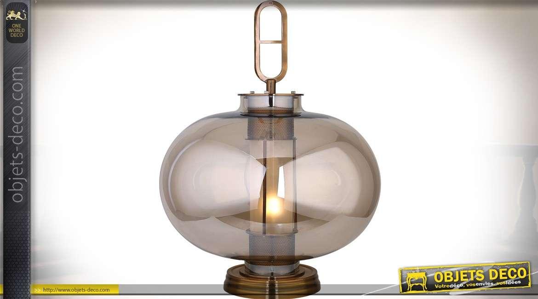 Lampe de table sphère de verre fumé en métal cuivré style rétro 55 cm