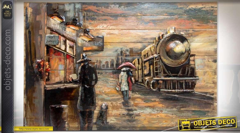 Grand tableau en bois et métal peint à la main : train à vapeur 120 x 80 cm