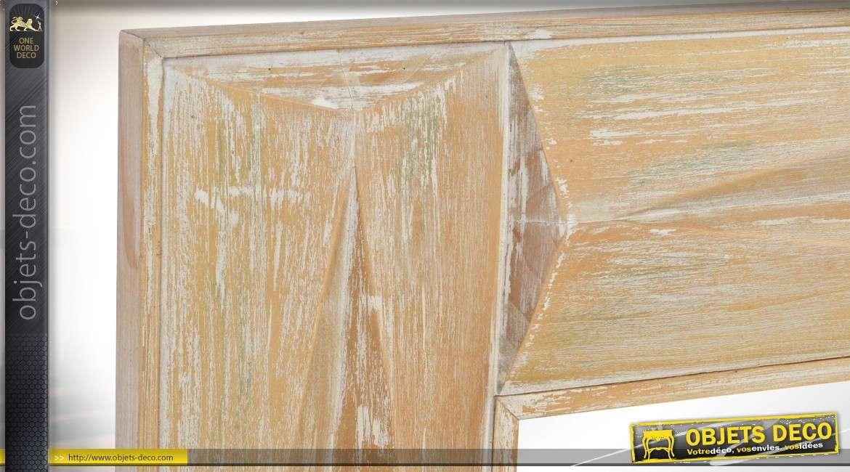 Miroir mural  rustique bois blond vieilli sculpté à motifs biseautés en relief 122 cm