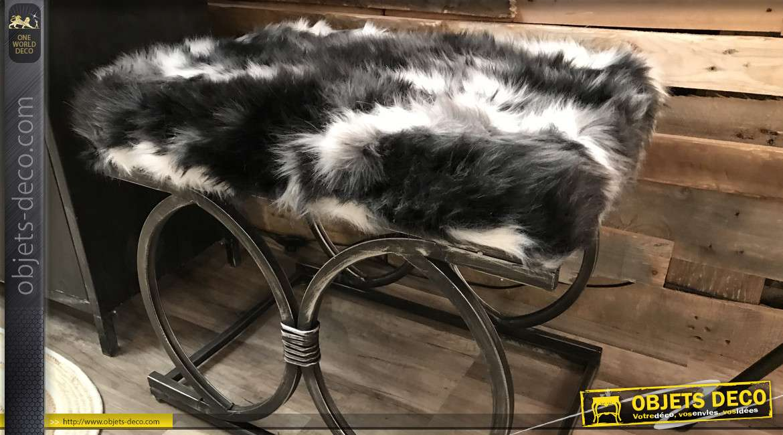 Repose-pieds de style design fausse fourrure, en métal finition bronze 60 cm