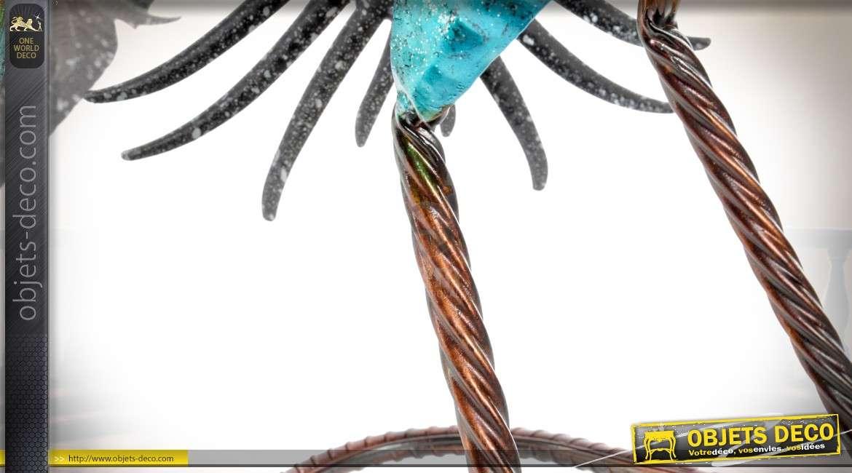 Grand paon décoratif en métal et fer forgé bleu irisé 83 cm
