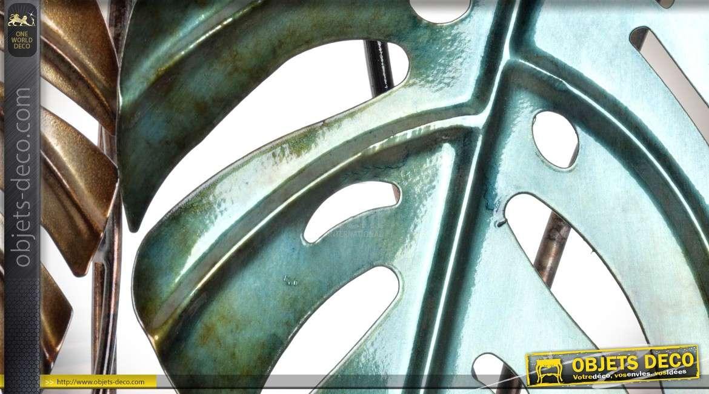 Duo de cadres muraux en métal et relief : feuilles de caoutchouc 90 cm
