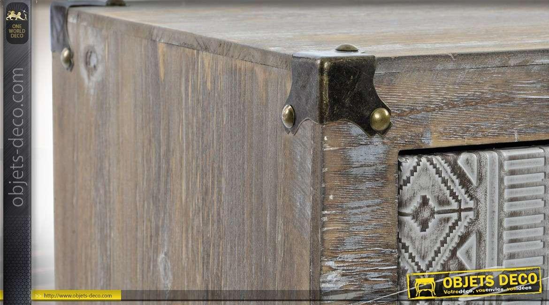 Chiffonnier à 4 tiroirs en bois vieilli et habillage tissu à motifs 81 cm