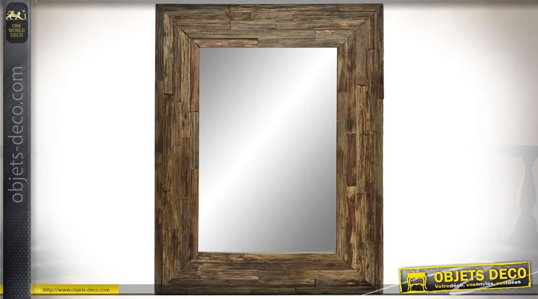 Miroir mural rectangulaire en bois recyclé vieilli style rustique 101.5 cm
