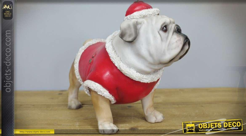 Statuette animalière : bouledogue anglais en habits de Père-Noël 25 cm