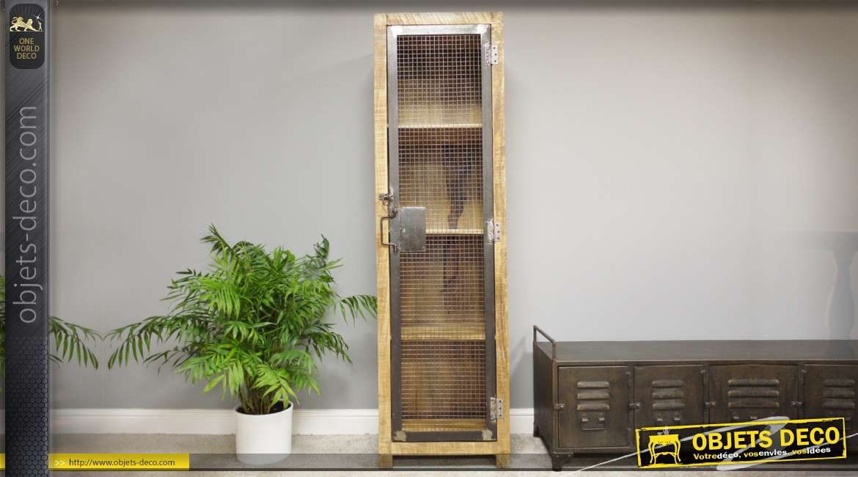 Armoire rustique verticale avec porte en métal grillagée 4 étagères 182 cm