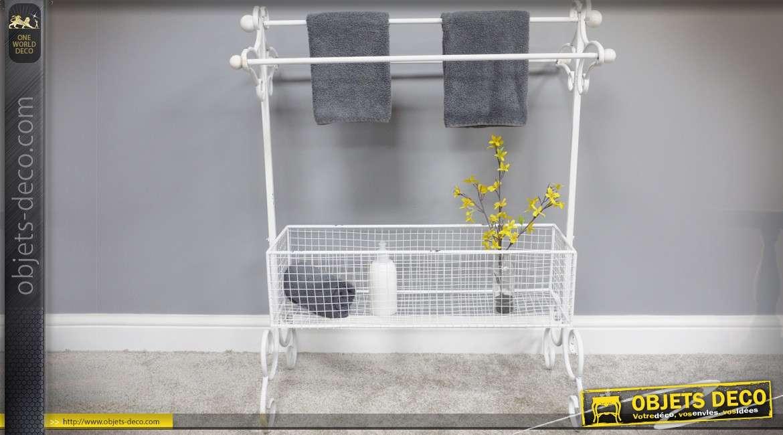 Porte-serviettes de salle de bain en métal laqué blanc avec panier 100 cm