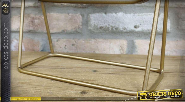 Grand miroir de table en métal doré de style rétro avec glace carrée 46 cm