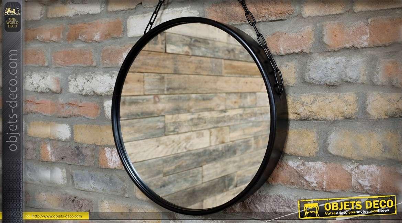 Miroir rond suspendu en métal noir et chaîne de suspension Ø 46 cm