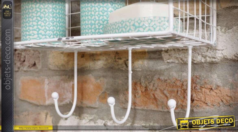 Etagère murale blanche rétro en métal pour salle de bains 102 cm