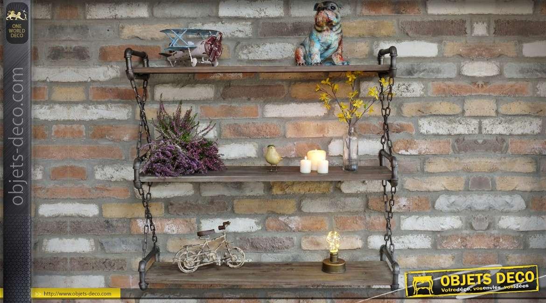 Etagère murale industrielle en bois et métal chaînes de suspension 91 cm