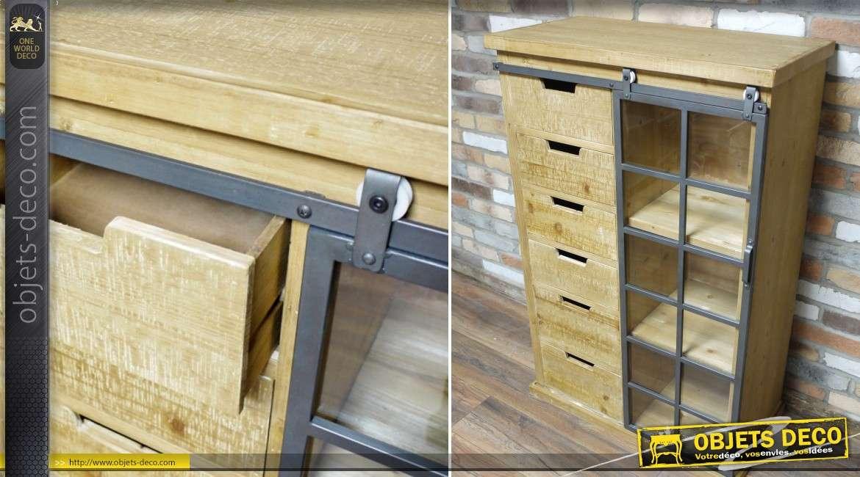 Meuble vitrine et chiffonnier de style industriel en bois et m tal 122 cm - Meuble industriel bois et metal ...