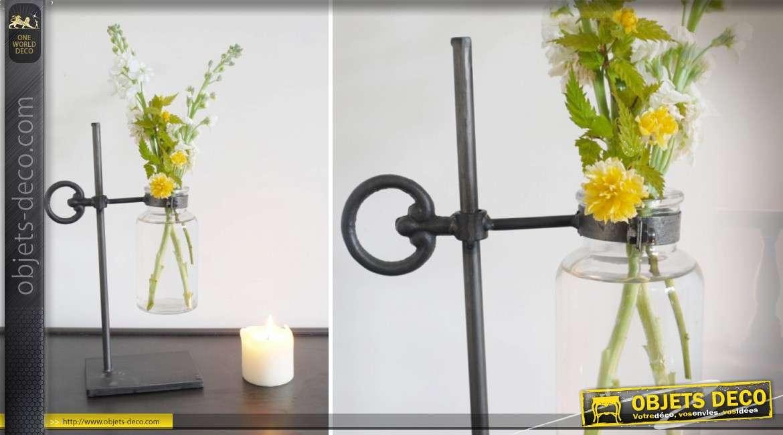 Vase original en forme de tube à essai avec support en métal 34 cm