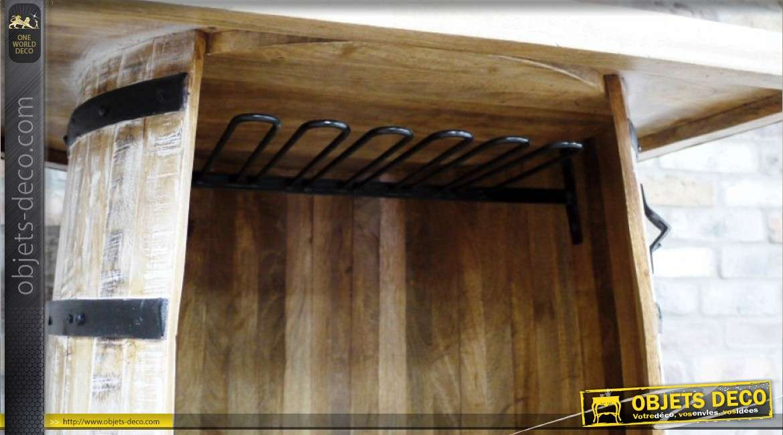 Meuble bar en bois et métal en forme de grand tonneau ancien 102 cm