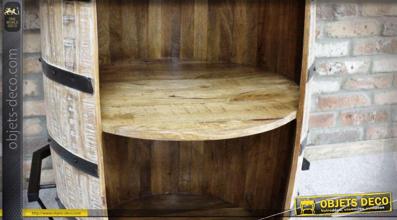 meuble bar en bois et m tal en forme de grand tonneau ancien 102 cm. Black Bedroom Furniture Sets. Home Design Ideas