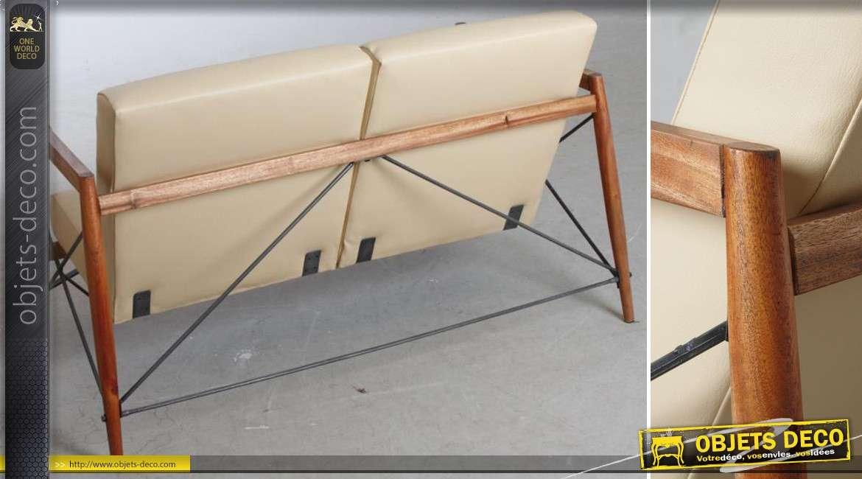 Canapé contemporain en suar massif, similicuir crème et métal 130 cm