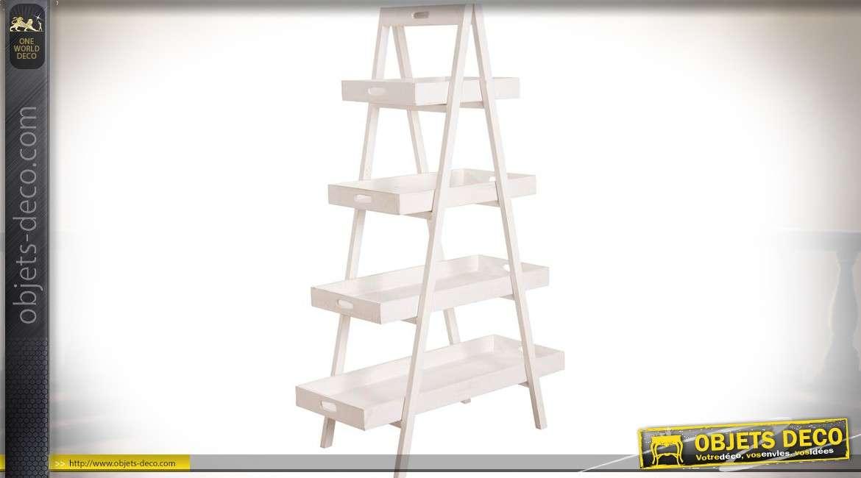 Etagère présentoir multiplateaux en bois patiné blanc 4 niveaux 140 cm