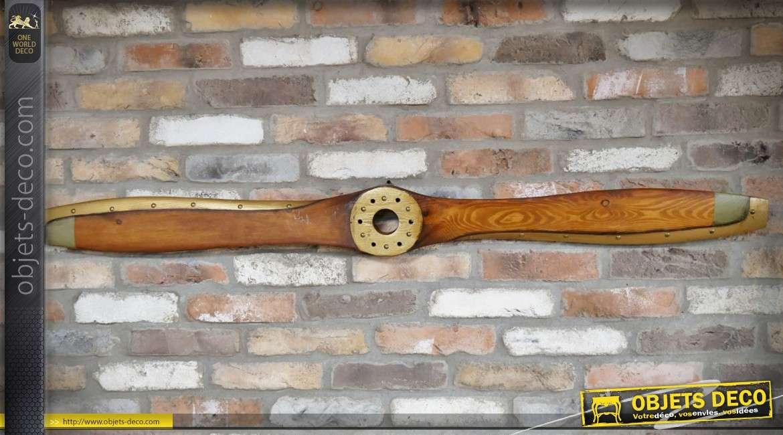 Grande hélice d'avion en bois et métal pour décoration murale 150 cm