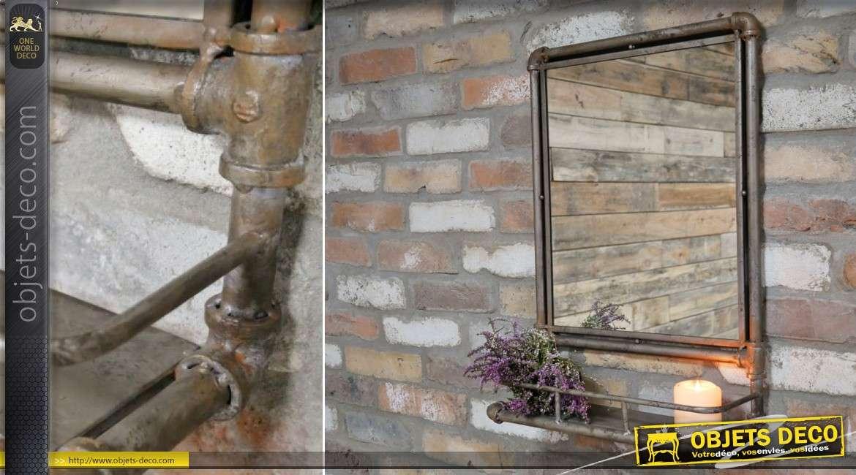Miroir avec étagère style tuyaux et plomberie industrielle rétro 60 cm