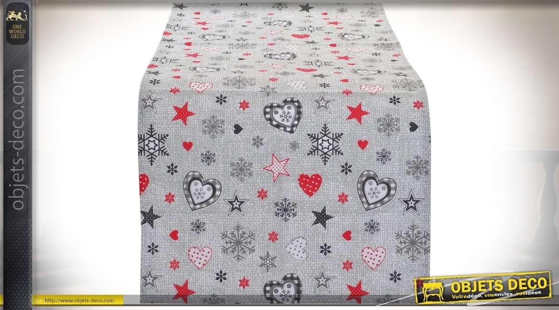 Chemin de table en coton gris clair avec motifs sur le thème de Noël 150 cm