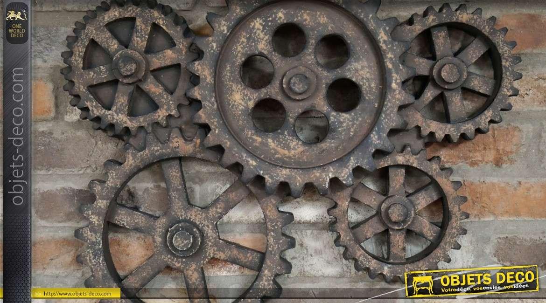 Decoration Murale Engrenages Anciens Style Industriel 62 X 48 Cm
