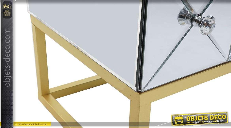 Commode design précieuse à 4 tiroirs avec habillage en miroirs 116 cm