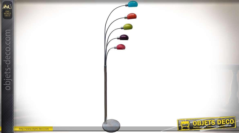 Lampadaire rétro design en marbre, verre et aluminium multicolore 195 cm