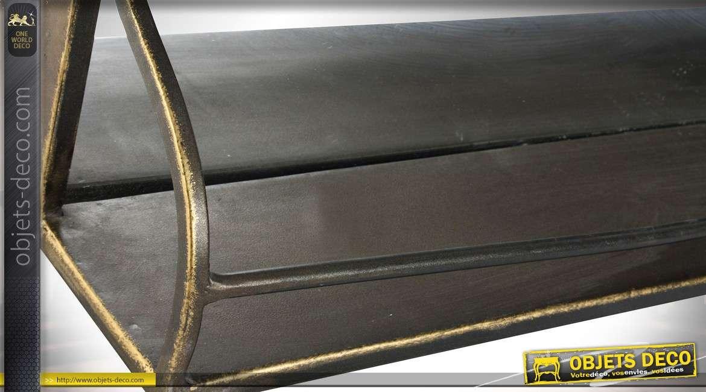 Miroir mural industriel et r tro en m tal dor vieilli avec tag re 90 cm for Miroir metal vieilli