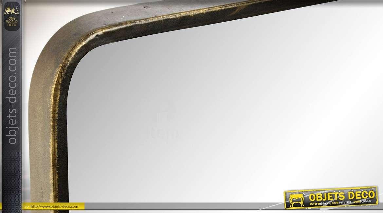 Miroir mural industriel et rétro en métal doré vieilli avec étagère 90 cm