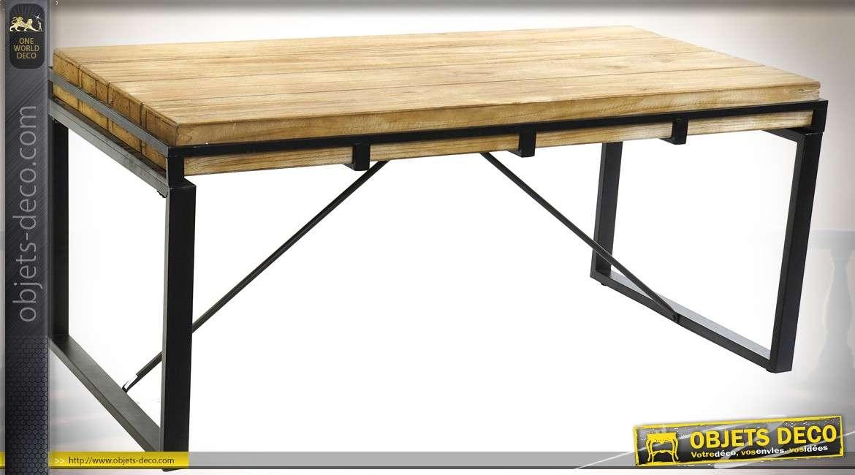 Table basse industrielle en métal et sapin naturel 122 x 60 cm