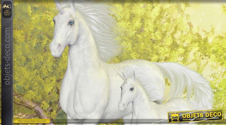 Série de 4 tableaux sur toile sur le thème des licornes 40 x 30 cm