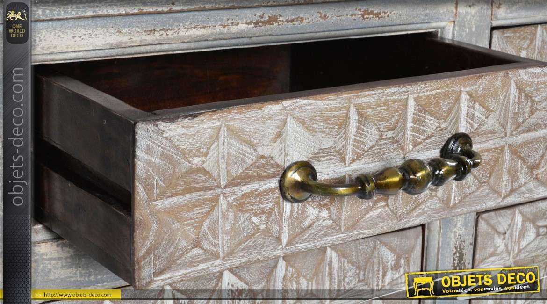 Buffet bas à deux portes en manguier façade à motifs en relief 90 cm
