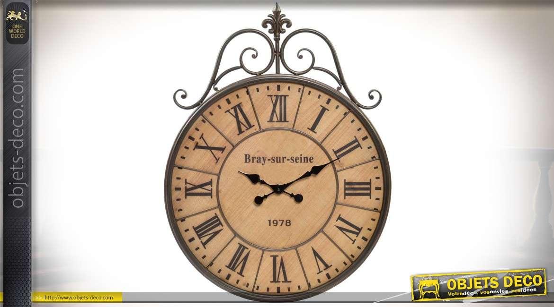 horloge murale ancienne en bois et m tal style r tro 79 cm. Black Bedroom Furniture Sets. Home Design Ideas