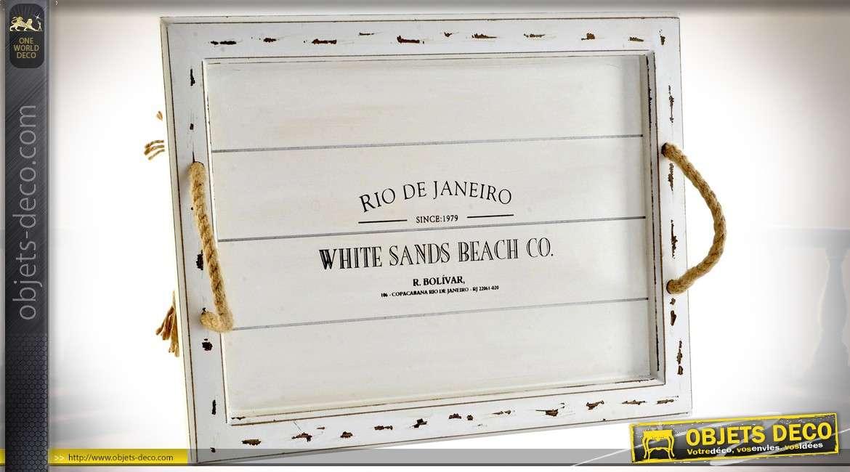 Plateau blanc en bois et cordage pour service ou décoration 37 x 27 cm