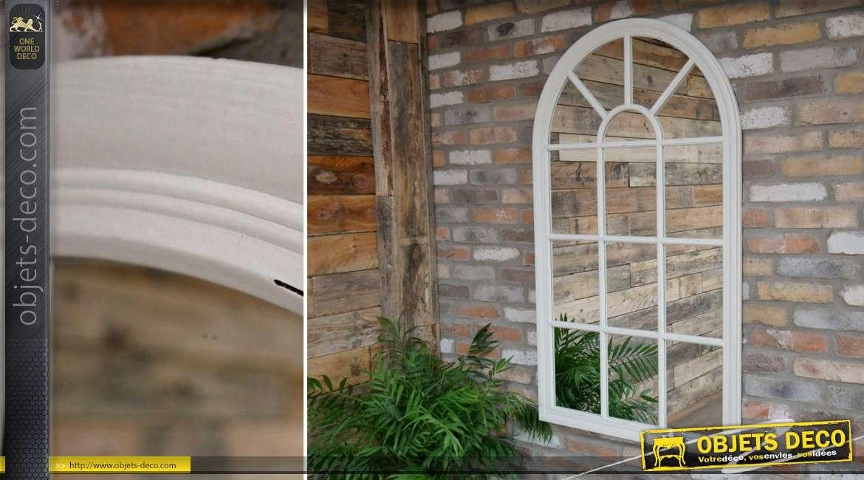 Miroir-fenêtre en arcade style victorien en bois patine blanche140 cm