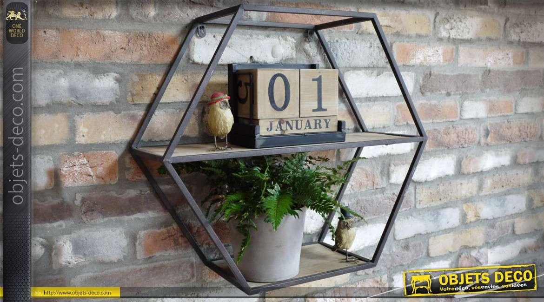 etag re murale hexagonale en bois et m tal de style indus. Black Bedroom Furniture Sets. Home Design Ideas