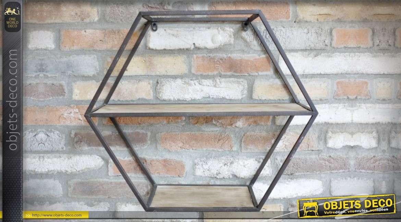 Etagère murale hexagonale en bois et métal de style indus 57 cm