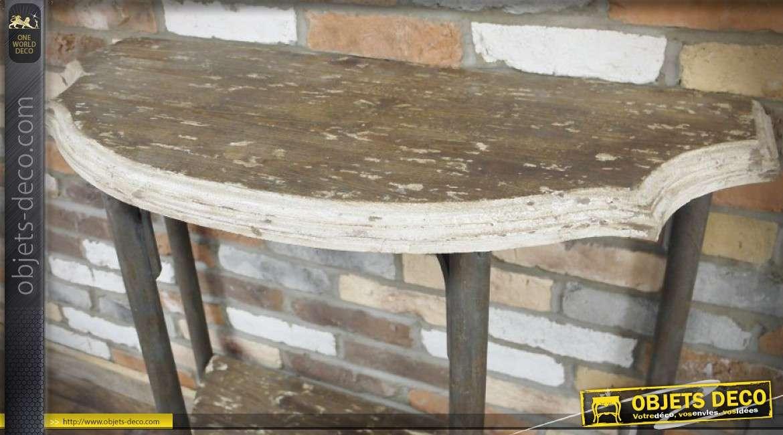 Console rétro rustique en demi-lune à deux plateaux finition bois vieilli 100 cm