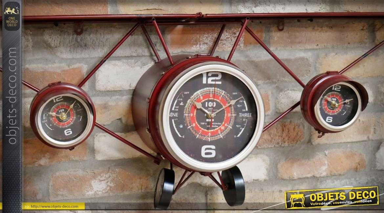 Etagère horloge à 3 cadrans en forme d'avion ancien en métal 122 cm