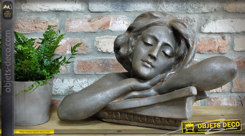 Statuette portrait de jeune femme finition gris pierre argentée 46 cm