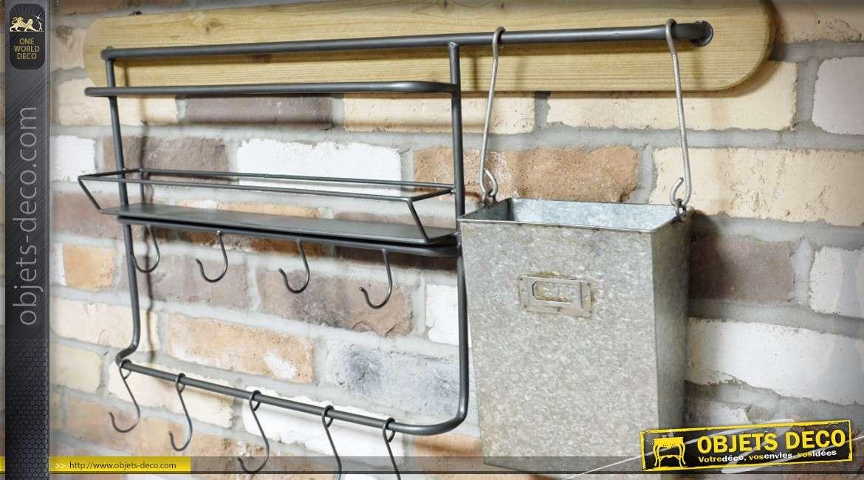 Etagère murale industrielle bois et métal avec crochets de suspension 90 cm