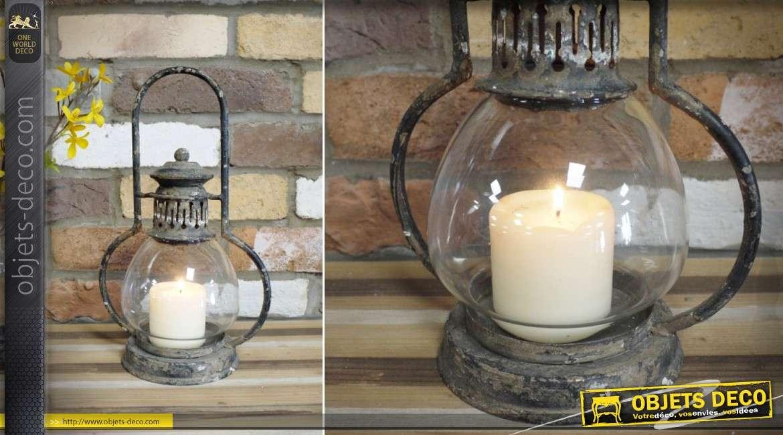 Lanterne ancienne en métal et verre, à poser ou à suspendre 35 cm