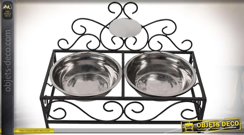 Gamelle chiens et chats en métal façon fer forgé et inox 2 bols 44 cm