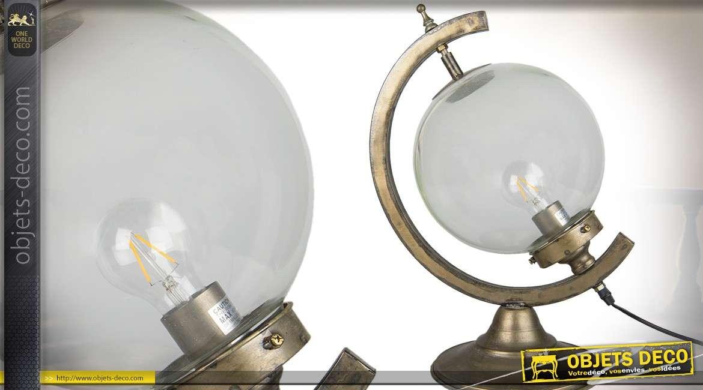 Lampe en forme de sphère ancienne sur support finition laiton doré vieilli 49 cm