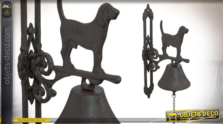 Cloche en métal pour porte d'entrée avec support mural et déco chien 34 cm