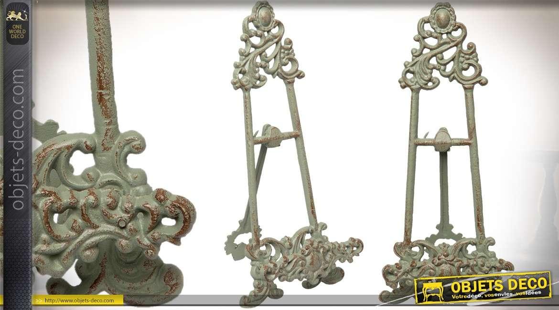 Lutrin en métal de style rétro patine vert vieillie 35 cm