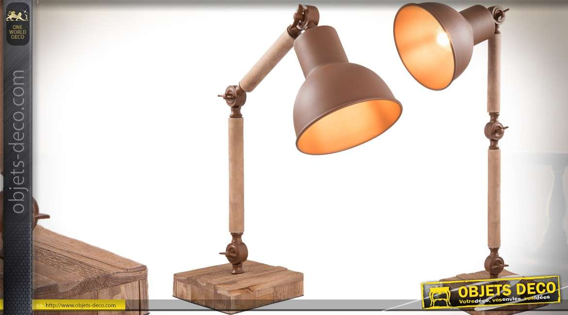 lampe de bureau r tro articul e en bois et m tal 45 cm. Black Bedroom Furniture Sets. Home Design Ideas