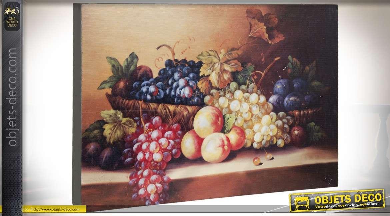 Tableau mural sur bois : fruits et raisins 30 cm