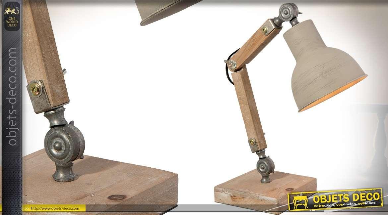 lampe de bureau r tro articul e en bois et m tal 47 cm. Black Bedroom Furniture Sets. Home Design Ideas