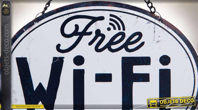 Plaque décorative ovale rétro en métal suspendue Free Wifi here 17 cm